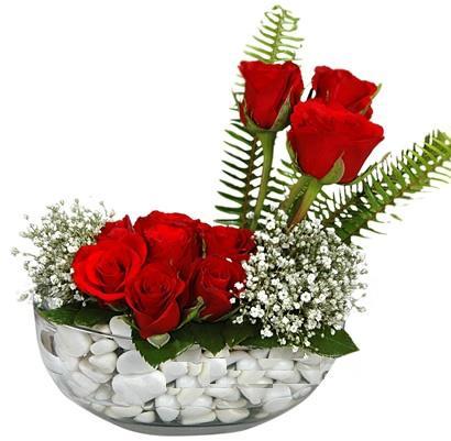 cam içerisinde 9 adet kirmizi gül  Kırşehir çiçekçiler