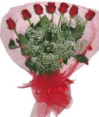 7 adet kipkirmizi gülden görsel buket  Kırşehir çiçek online çiçek siparişi