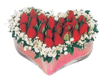 Kırşehir çiçek yolla  mika kalpte kirmizi güller 9