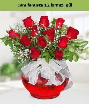 Cam içerisinde 12 adet kırmızı gül  Kırşehir çiçekçi mağazası