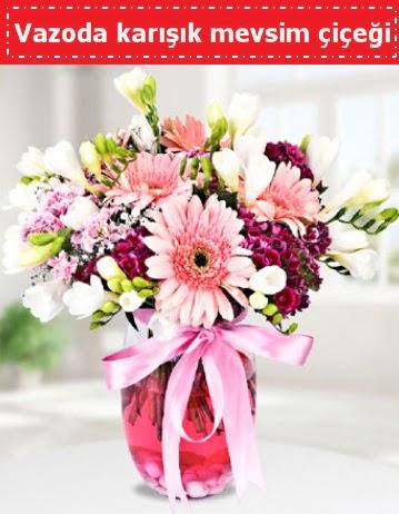 Vazoda karışık mevsim çiçeği  Kırşehir çiçekçi telefonları