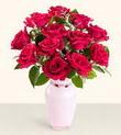 Kırşehir çiçek , çiçekçi , çiçekçilik  10 kirmizi gül cam yada mika vazo tanzim