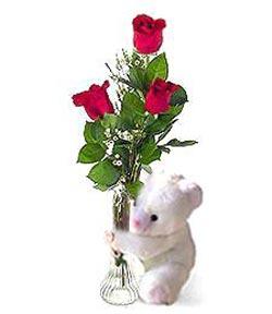 oyuncak ve 3 adet gül  Kırşehir hediye çiçek yolla