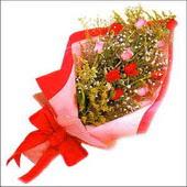 12 adet renkli  gül buketi   Kırşehir ucuz çiçek gönder