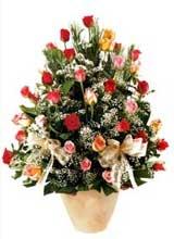 91 adet renkli gül aranjman   Kırşehir çiçek yolla , çiçek gönder , çiçekçi