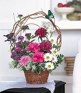 Kırşehir online çiçek gönderme sipariş  sepet içerisinde karanfil gerbera ve kir çiçekleri
