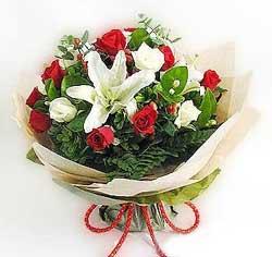 güller ve kazablanklardan görsel bir buket  Kırşehir çiçekçi mağazası