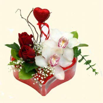 Kırşehir 14 şubat sevgililer günü çiçek  1 kandil orkide 5 adet kirmizi gül mika kalp