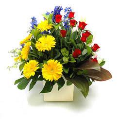 Kırşehir internetten çiçek siparişi  9 adet gül ve kir çiçekleri cam yada mika vazoda