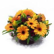 gerbera ve kir çiçek masa aranjmani  Kırşehir çiçekçiler