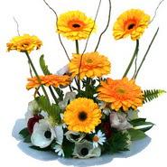 camda gerbera ve mis kokulu kir çiçekleri  Kırşehir çiçek yolla