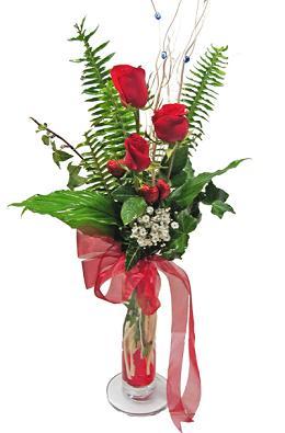 Çiçek gönderin cam vazoda 3 gül çiçekleri  Kırşehir hediye çiçek yolla