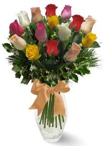 15 adet vazoda renkli gül  Kırşehir çiçekçi mağazası