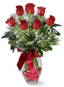 7 adet vazoda gül  Kırşehir çiçekçi mağazası  kirmizi gül