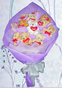 12 adet ayiciktan buket tanzimi  Kırşehir çiçek mağazası , çiçekçi adresleri
