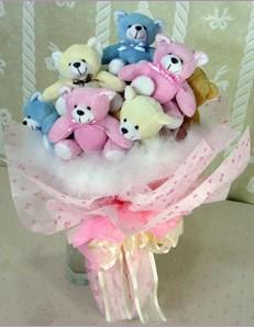 9 adet ayiciktan buket  Kırşehir hediye sevgilime hediye çiçek