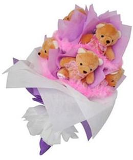 9 adet ayiciktan buket  Kırşehir 14 şubat sevgililer günü çiçek