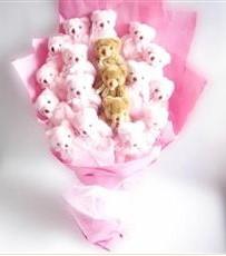 17 adet pelus ayicik buketi  Kırşehir online çiçekçi , çiçek siparişi