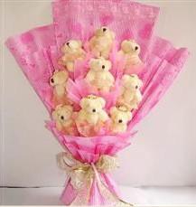 9 adet pelus ayicik buketi  Kırşehir uluslararası çiçek gönderme