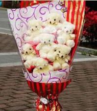 11 adet pelus ayicik buketi  Kırşehir çiçek satışı