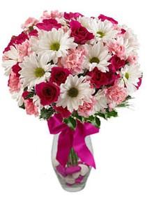 Kırşehir hediye çiçek yolla  Karisik mevsim kir çiçegi vazosu