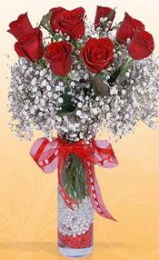 9 adet kirmizi gül cam yada mika vazoda  Kırşehir çiçek online çiçek siparişi