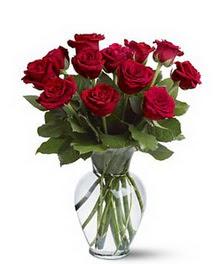 Kırşehir çiçek yolla , çiçek gönder , çiçekçi   cam yada mika vazoda 10 kirmizi gül