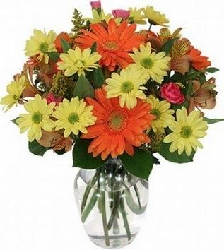 Kırşehir 14 şubat sevgililer günü çiçek  vazo içerisinde karışık mevsim çiçekleri