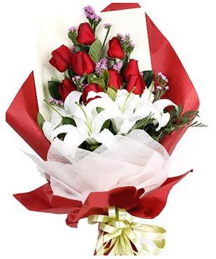 Kırşehir çiçek siparişi sitesi  1 dal kazablankaa 9 adet kırmızı gül buketi