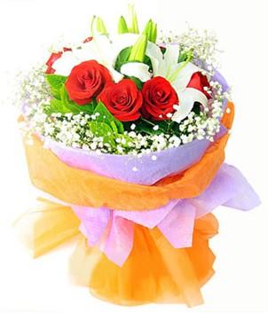 Kırşehir çiçek yolla , çiçek gönder , çiçekçi   1 dal kazablanka 7 adet kırmızı gül buketi