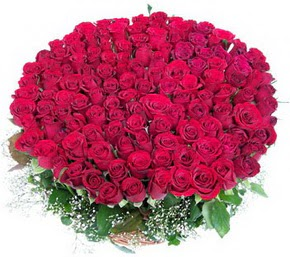 Kırşehir güvenli kaliteli hızlı çiçek  100 adet kırmızı gülden görsel buket