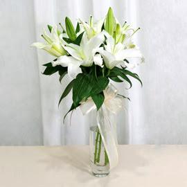 Kırşehir uluslararası çiçek gönderme  2 dal kazablanka ile yapılmış vazo çiçeği