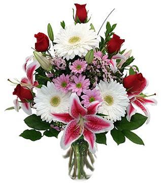 Kırşehir çiçek online çiçek siparişi  1 dal kazablanka 5 gül ve kırçiçeği vazosu