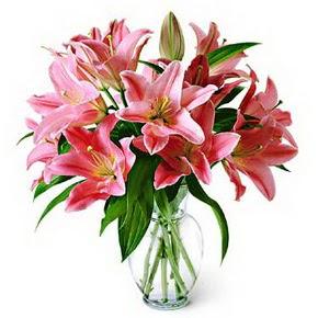 3 dal kazablanka görsel vazosu  Kırşehir internetten çiçek satışı