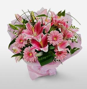 1 dal kazablanka ve kır çiçek görsel buketi  Kırşehir çiçekçi mağazası