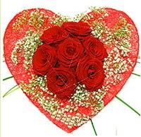Mika kalp içerisinde 7 adet kırmızı gül  Kırşehir ucuz çiçek gönder