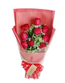 9 adet kırmızı gülden görsel buket  Kırşehir çiçek satışı