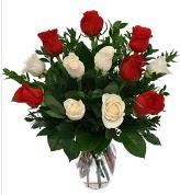 Vazo içerisinde 6 kırmızı 6 beyaz gül  Kırşehir çiçek , çiçekçi , çiçekçilik