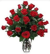 Kırşehir hediye çiçek yolla  24 adet kırmızı gülden vazo tanzimi