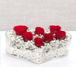 kalp içerisinde 7 adet kırmızı gül  Kırşehir çiçekçiler