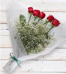 5 kırmızı gülden sade buket  Kırşehir İnternetten çiçek siparişi