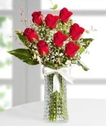 7 Adet vazoda kırmızı gül sevgiliye özel  Kırşehir hediye çiçek yolla