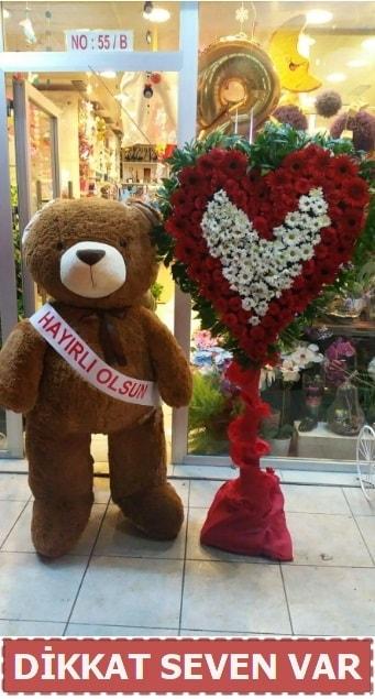 1.5 Metre peluş ayı ve Kalp  Kırşehir çiçek yolla , çiçek gönder , çiçekçi