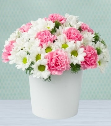 Seramik vazoda papatya ve kır çiçekleri  Kırşehir hediye çiçek yolla
