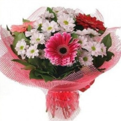 Gerbera ve kır çiçekleri buketi  Kırşehir internetten çiçek satışı