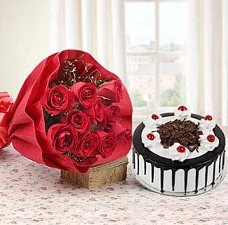 12 adet kırmızı gül 4 kişilik yaş pasta  Kırşehir çiçekçi telefonları
