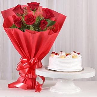 6 Kırmızı gül ve 4 kişilik yaş pasta  Kırşehir çiçekçi telefonları