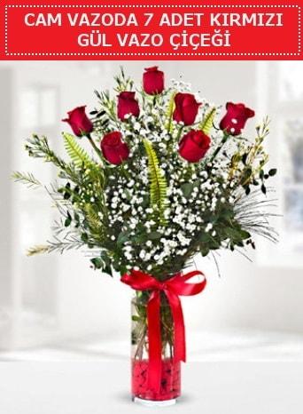 Cam vazoda 7 adet kırmızı gül çiçeği  Kırşehir çiçek yolla , çiçek gönder , çiçekçi