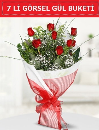 7 adet kırmızı gül buketi Aşk budur  Kırşehir çiçek gönderme