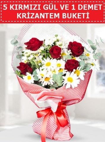 5 adet kırmızı gül ve krizantem buketi  Kırşehir çiçek gönderme